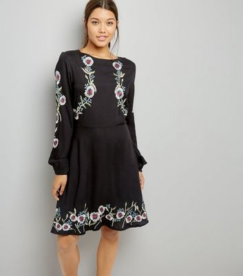 Tall Black Floral Embroidered Balloon Sleeve Dress