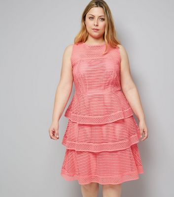 Curves Pink Premium Tiered Lace Dress