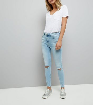 Blue Ripped Knee Shaper Skinny Jeans