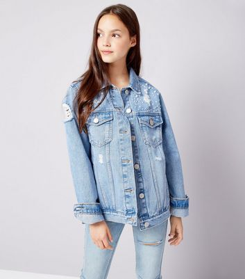 Teens Blue Pearl Embellished Denim Jacket