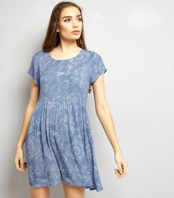 Brave Soul Pale Blue Abstract Print Smock Dress