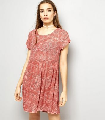 Brave Soul Pink Abstract Print Smock Dress