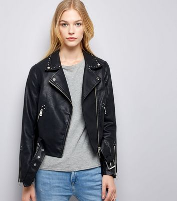 Black Studded Leather-Look Biker Jacket