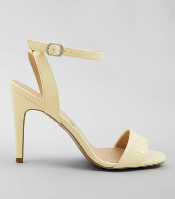 Yellow Patent Ankle Strap Heels