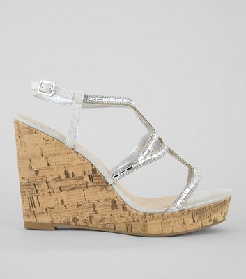 Silver Embellished Cork Wedge Heels