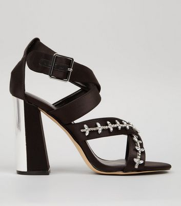 Black Satin Embellished Cross Strap Heeled Sandals