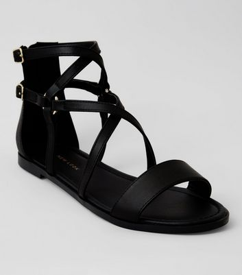 Black Zip Back Gladiator Sandals