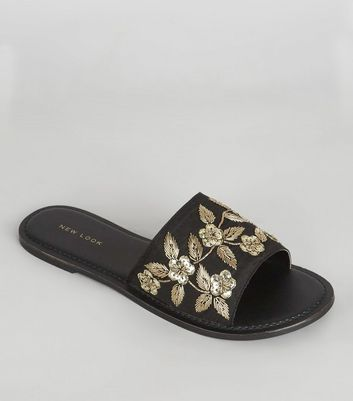 Black Satin Floral Embroidered Mules