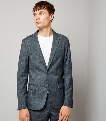 Blue Cross Hatch Tailored Suit Jacket