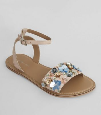 Pink Leather Sequin Flower Sandals