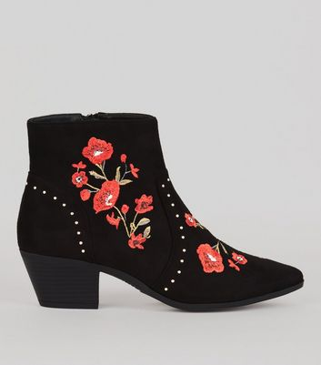 Black Suedette Floral Embroidered Western Boots