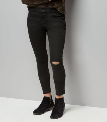 Teens Black Ripped Knee Skinny Ankle Grazer Jeans