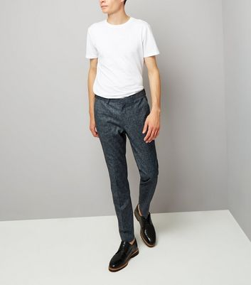 Blue Cross Hatch Tailored Skinny Suit Trousers