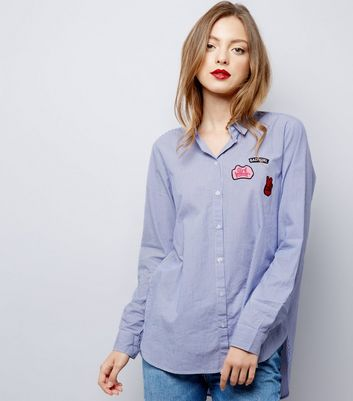 JDY Blue Stripe Badge Trim Shirt