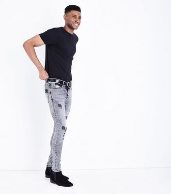 Black Acid Wash Super Skinny Jeans