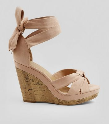 Pink Suedette Tie Up Ankle Cork Wedge Heels