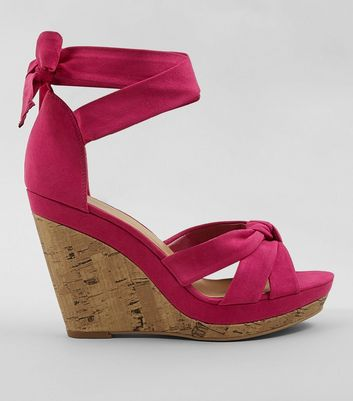 Bright Pink Suedette Tie Up Ankle Cork Wedge Heels