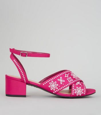 Pink Satin Contrast Embroidered Block Heeled Sandals