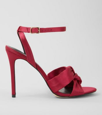 Pink Satin Knot Strap Heeled Sandals