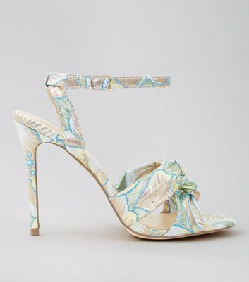 Pastel Blue Floral Brocade Knot Strap Heeled Sandals