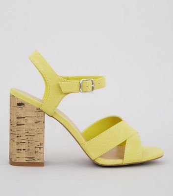 Yellow Suedette Cross Strap Cork Block Heeled Sandals