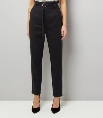 Tall Black D Ring Belted Trousers