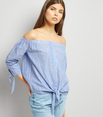 Tall Blue Stripe Tie Front Bardot Neck Top