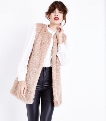 Tall Pink Faux Fur Gilet