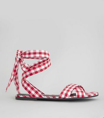 Red Gingham Ankle Tie Sandals