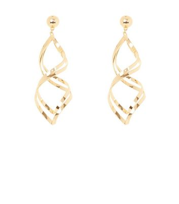 Gold Twist Drop Earrings