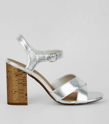 Silver Metallic Cross Strap Cork Block Heeled Sandals
