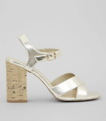 Gold Metallic Cross Strap Cork Block Heeled Sandals