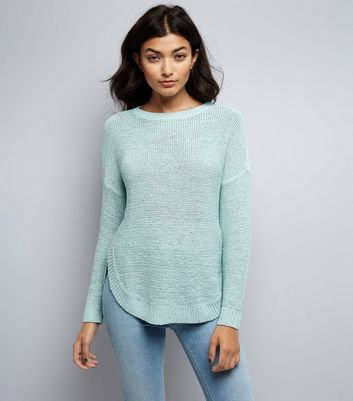 JDY Blue Dropped Shoulder Fine Knit Jumper