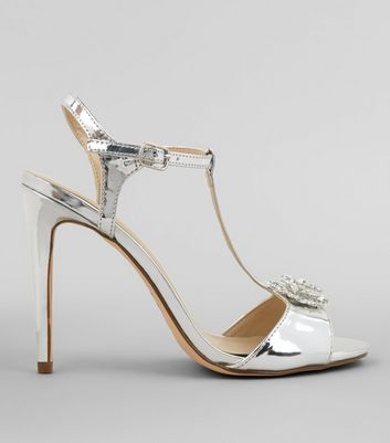 Silver Metallic Metal Badge Heeled Sandals