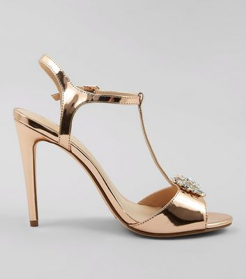 Rose Gold Metallic Metal Badge Heeled Sandals