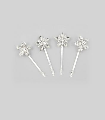4 Pack Silver Gem Flower Hair Slides