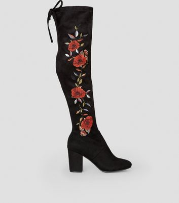 Black Suedette Floral Embroidered Over the Knee Boots