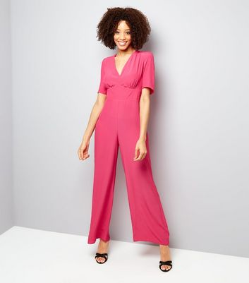 Bright Pink V Neck Jumpsuit