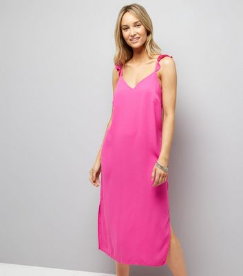 Pink Frill Trim Strap Slip Dress