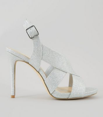 Wide Fit Silver Glitter Cross Strap Sling Back Heels