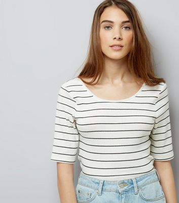 JDY Black Stripe 1/2 Sleeve Top