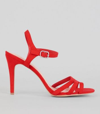 Wide Fit Red Comfort Suedette Strappy Heeled Sandals