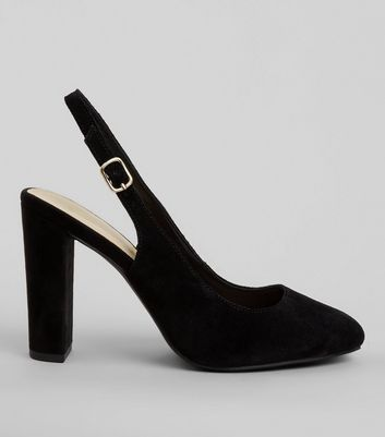 Wide Fit Black Suede Sling Back Heels
