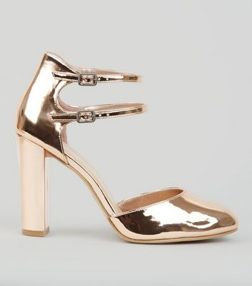 Wide Fit Rose Gold Double Ankle Strap Heels