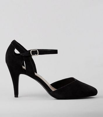 Wide Fit Black Suede Mid Heels
