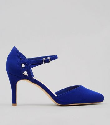 Wide Fit Comfort Blue Ankle Strap Heels