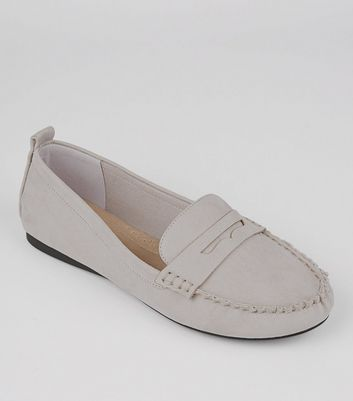 Wide Fit Grey Comfort Suedette Loafers