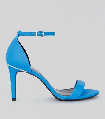 Wide Fit Neon Blue Textured Heeled Sandals