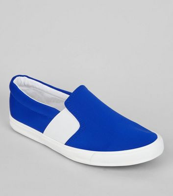 Wide Fit Blue Contrast Elasticated Side Plimsolls