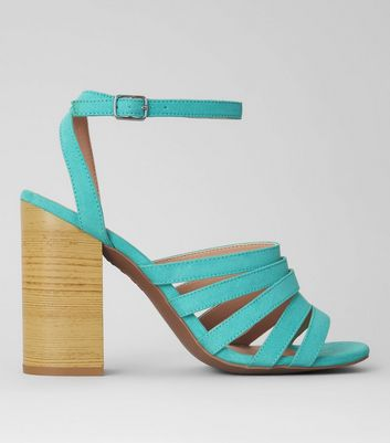 Mint Green Suedette Multi Strap Wooden Heeled Sandals
